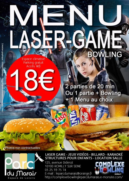 Menu Laser Game ou Mixte Mai 2018